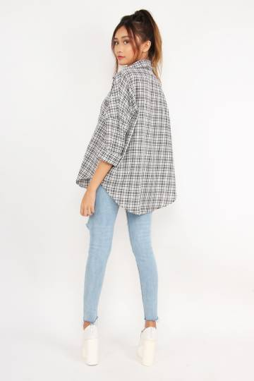Plaid Game Big Shirt (White)
