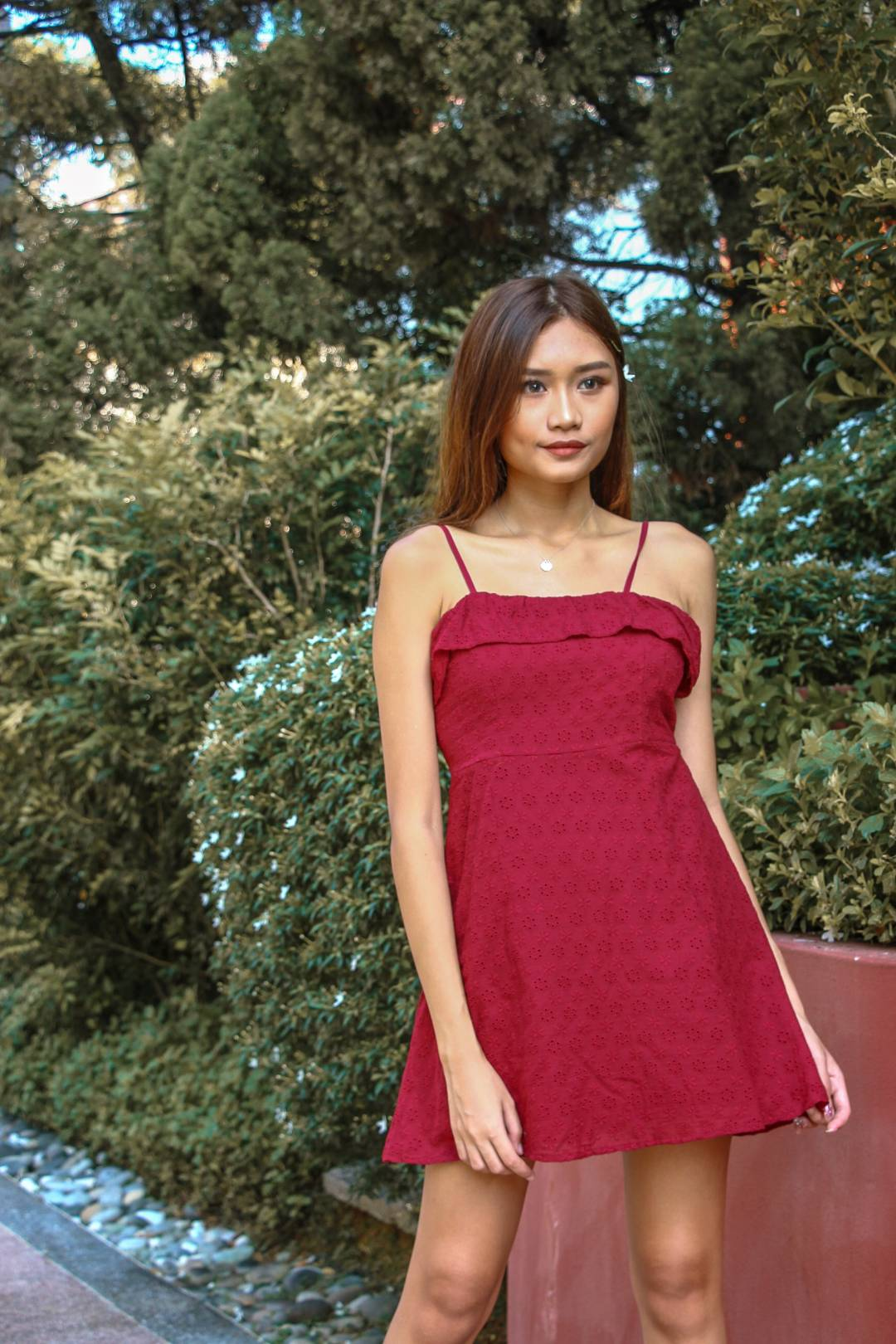 The Go To Eyelet Dress (Wine Red)