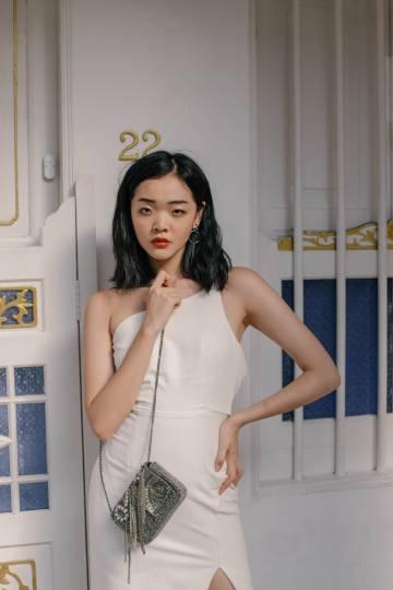 Side Kick Toga Dress in White
