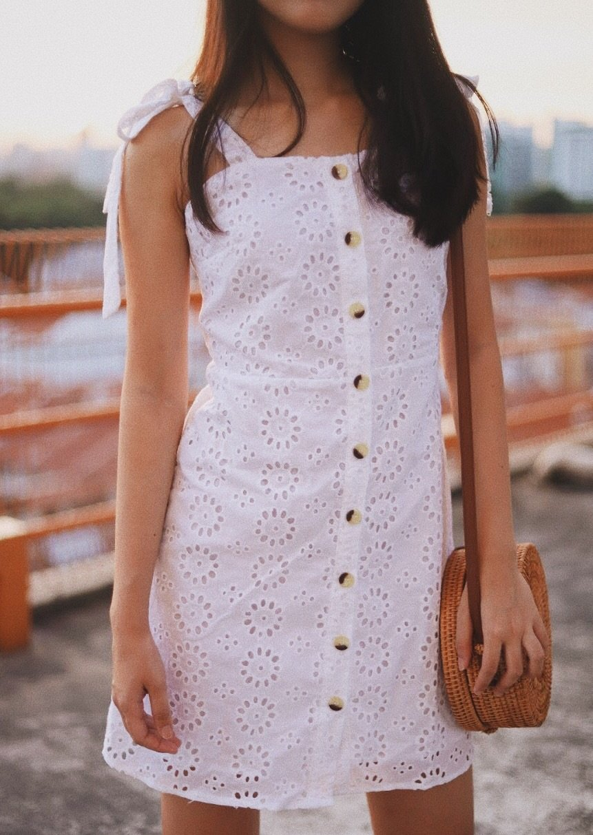 Cara Crochet Eyelet Button Down Dress