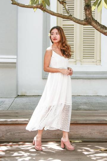 Lace Season Maxi Dress (White)