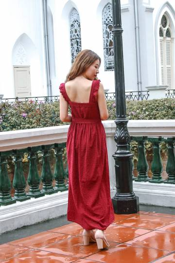 Best Of Luck Eyelet Maxi Dress (Wine Red)