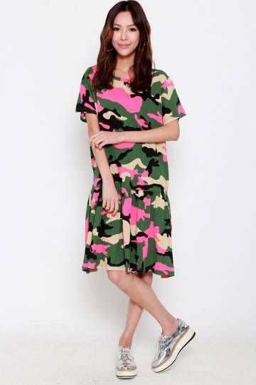 Stella Star Camo Dress in Pink Green