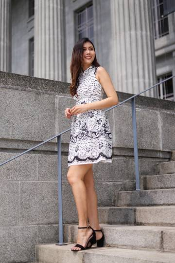 Kelsay Oriental Crochet Dress in White