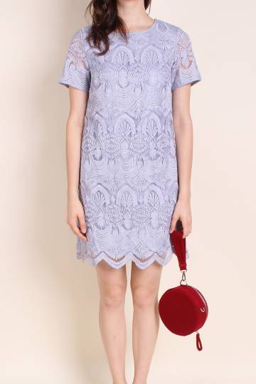 MADEBNM CORNELLA EMBOSSED MESH SLEEVE DRESS IN PERIWINKLE LILAC [XS/S/M/L/XL]