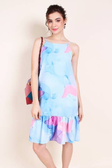 MADEBYNM DIXIE ABSTRACT DROPWAIST HEM TRAPEZE IN WATERCOLOUR BLUE [XS/S/M/L]