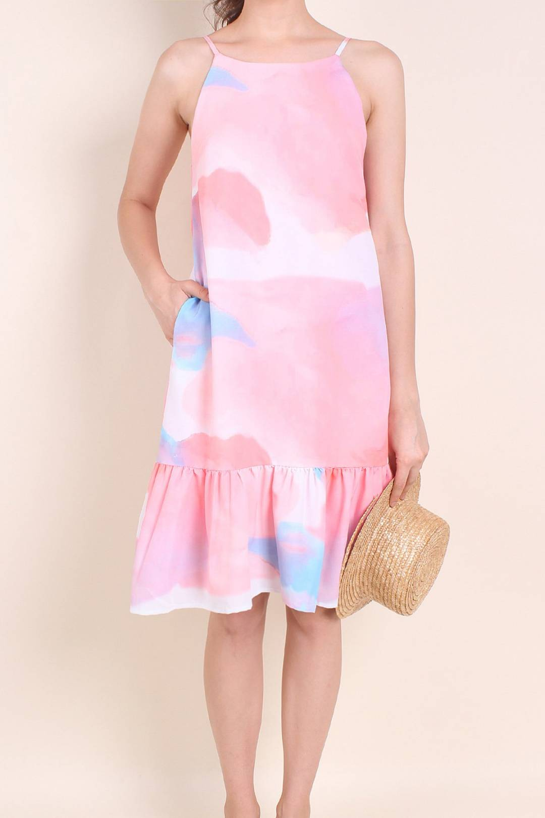 MADEBYNM DIXIE ABSTRACT DROPWAIST HEM TRAPEZE IN WATERCOLOUR PINK [XS/S/M/L]