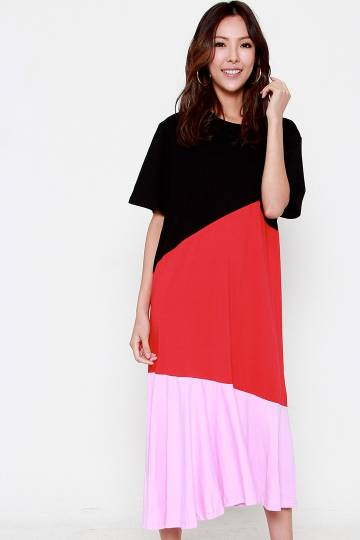Mickey Colourblock Dress in Black Red Pink