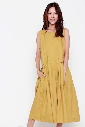 Trixie Flare Dress in Mustard