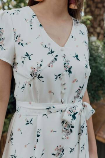 Buttoned Up Whimsy Maxi Dress White Floral