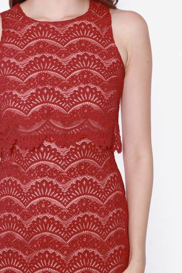 OCTAVIA DOUBLE LAYER LACE DRESS (RED)