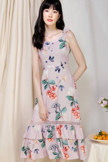 Entice Double Hem Floral Dress (Lilac Taupe)