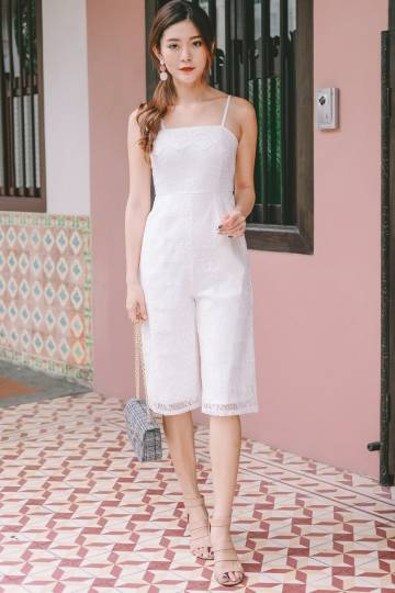 Leah Lace Jumpsuit in White