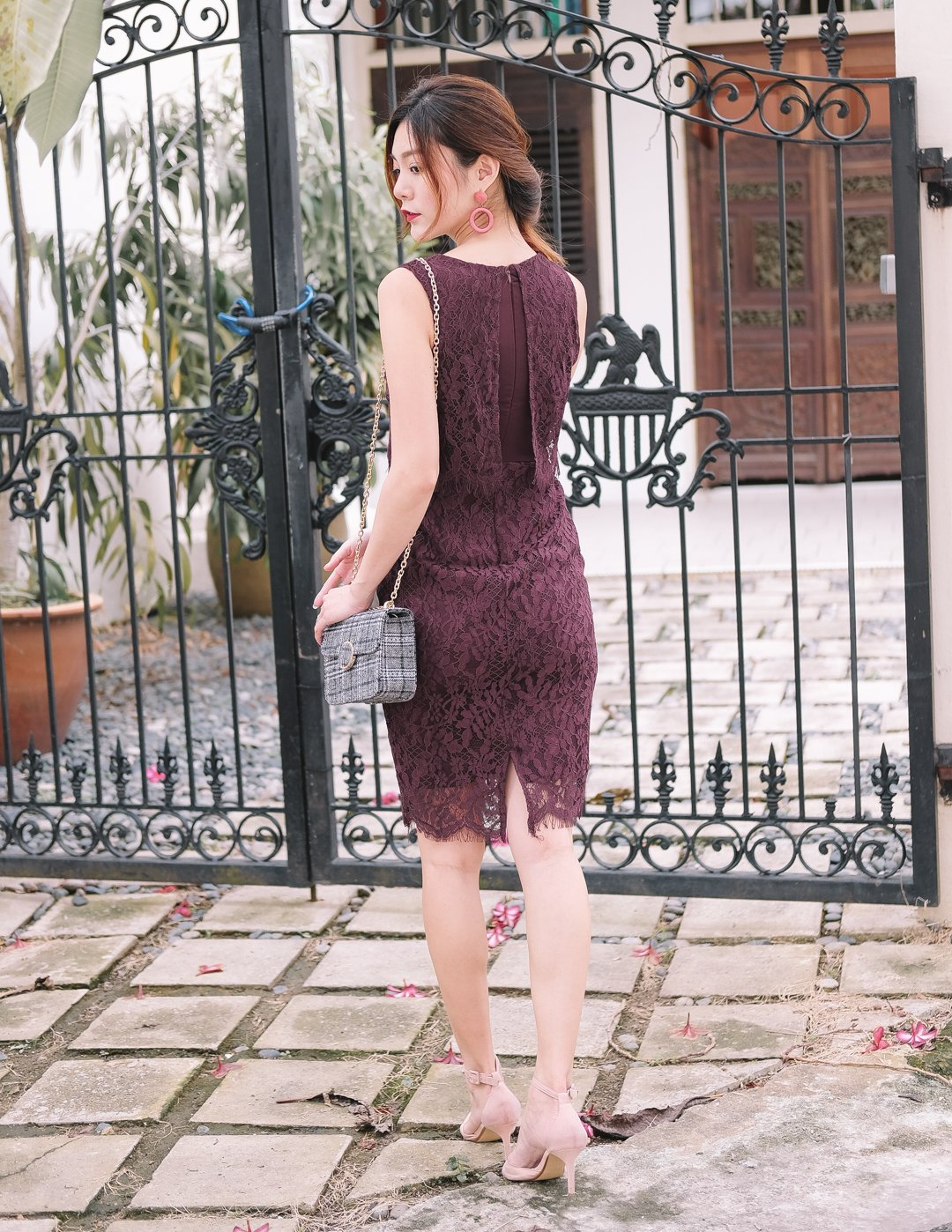 Freya Layered Lace Dress in Wine