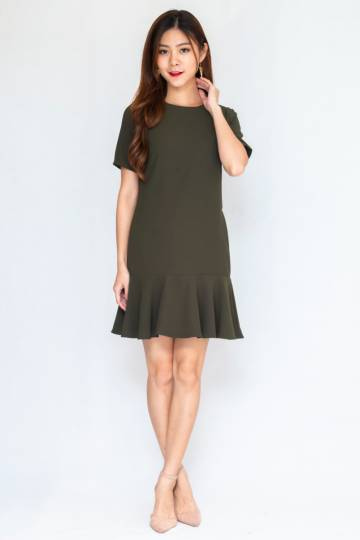 Perry Sleeve Hem Dress In Olive (Size S)