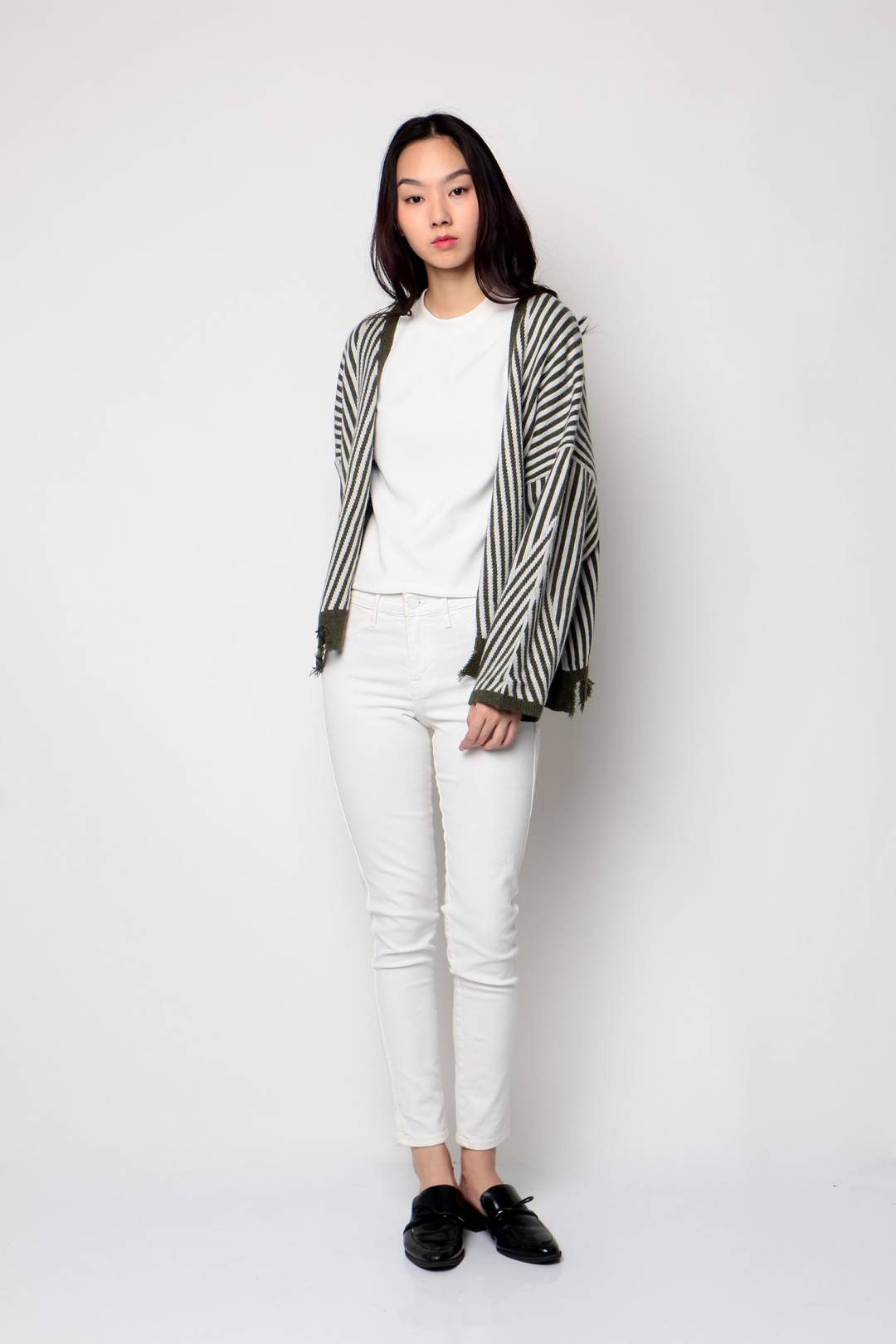 Beverly Striped Cardigan (Green/White)