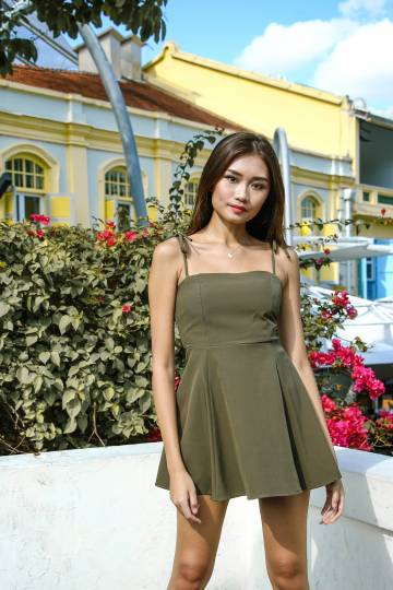 Basic Mini Romper Dress (Olive Green)