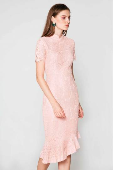 NELANI LACE ASYMMETRICAL MIDI DRESS PINK