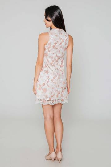NICHELLE FLORAL CROCHET SHIFT DRESS W DETACHABLE COLLAR PINK