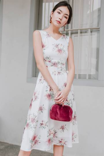 Giselle Floral V-neck Midi Dress