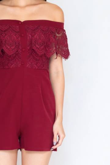 Hana Off Shoulder Lace Romper In Wine Red (Size S)