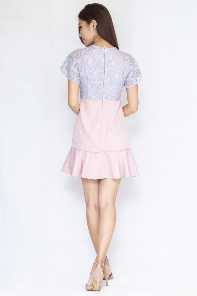 Taylor Lace Sleeves Dress In Pink/Lilac