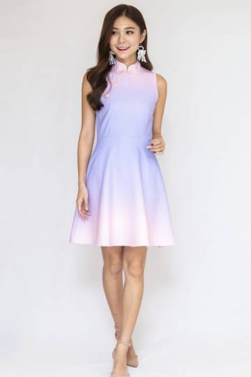 Joyous Cheongsam Dress In Purple/Pink (Size S)