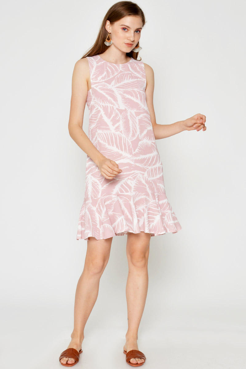 HELOISE LEAF PRINTED DROPWAIST DRESS PINK