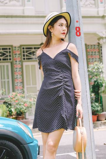 Dolores Polka Dot Dress in Black