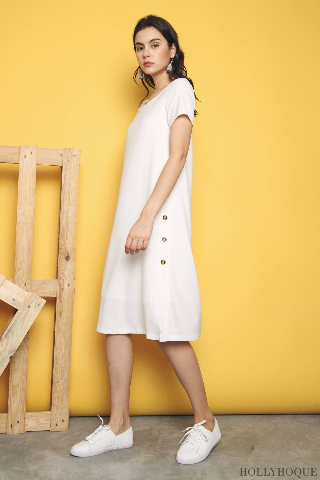 Omnia Side Buttons Dress White