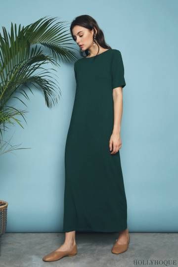 Skyler Jersey Maxi Dress Emerald (Restock)