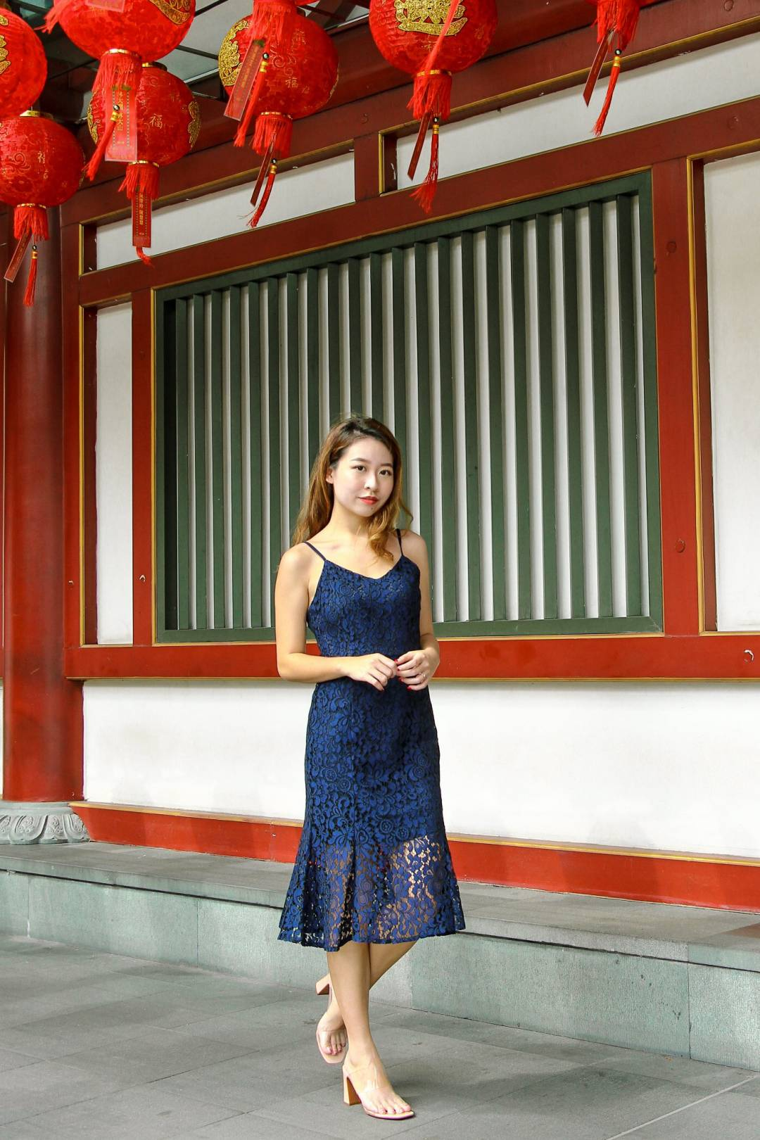 Stay Feminine Lace Dress (Navy)