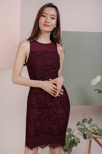 Kris Lace Dress (Plum)