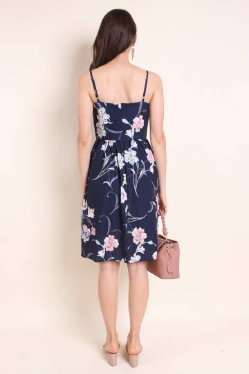 MADEBYNM MARYWOOD FLORAL A-LINE SPAG DRESS IN NAVY BLUE [XS/S/M/L]