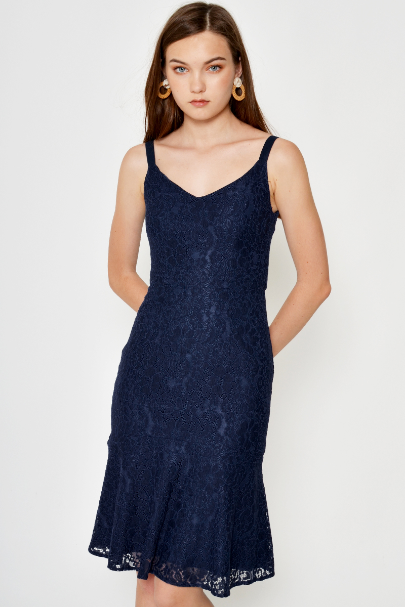 BRITTANY LACE MERMAID DRESS NAVY