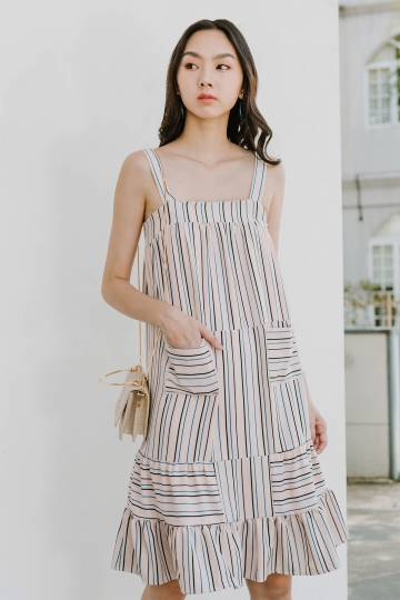 Joen Pinstripe Midi Dress