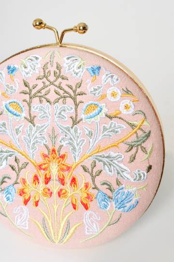 PASTEL FLORAL EMBROIDERY ROUND BAG PINK