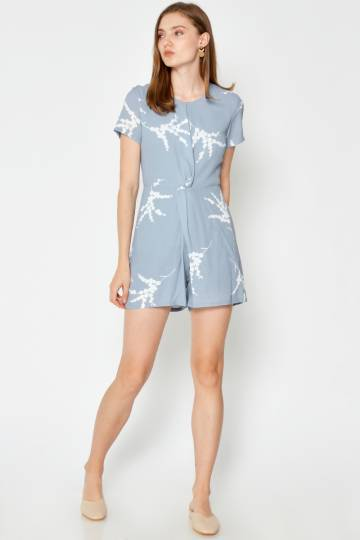 BACKORDER KIMMIE TWISTED KNOT ROMPER LIGHT BLUE