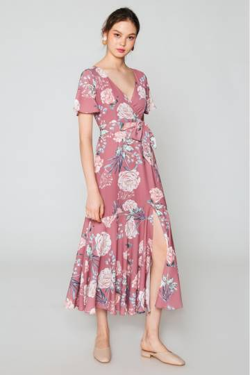 ROSELLA MAXI FLORAL WRAP DRESS PINK