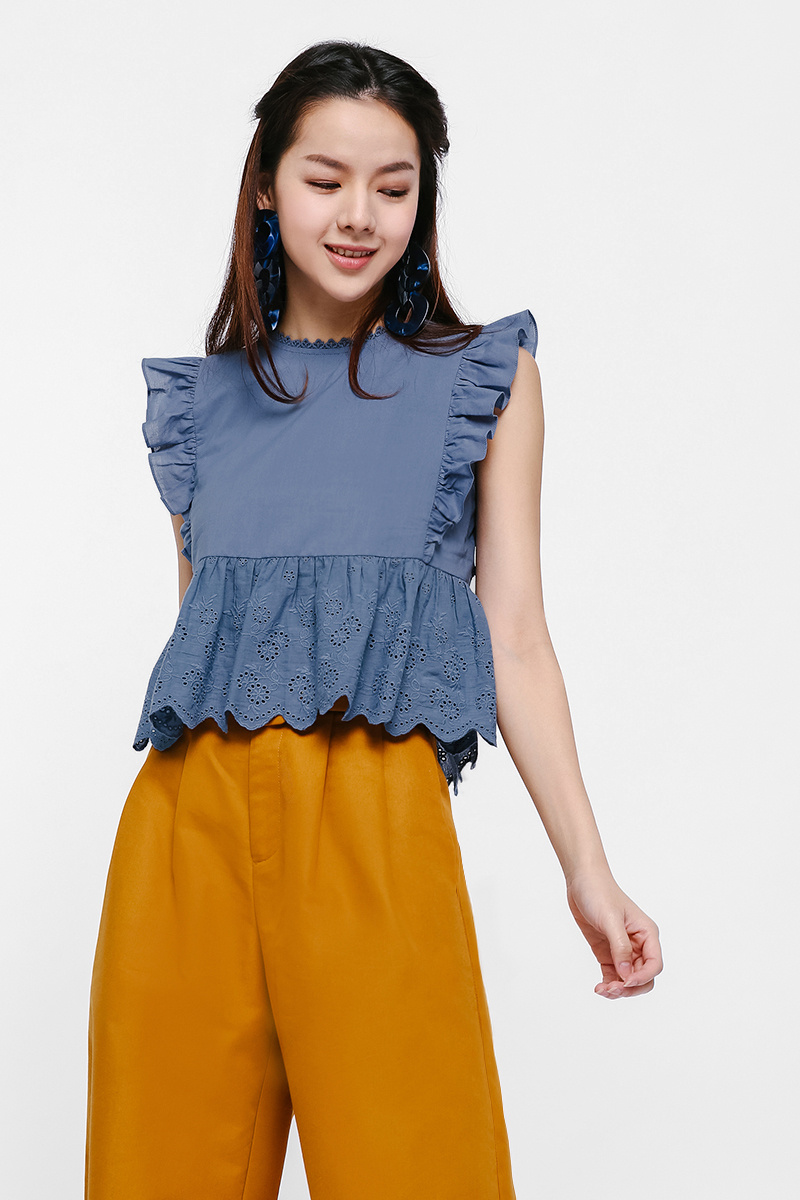 Christie Broderie Anglaise Ruffle Sleeve Top