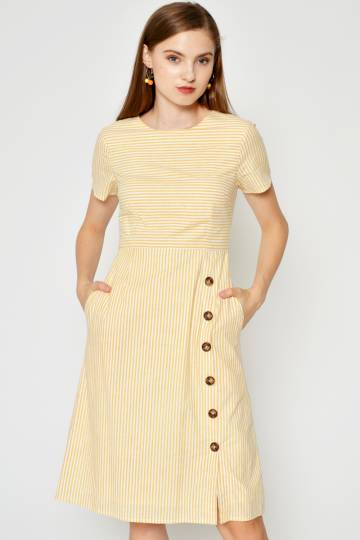 QUENTIN STRIPE SIDE BUTTON DRESS YELLOW