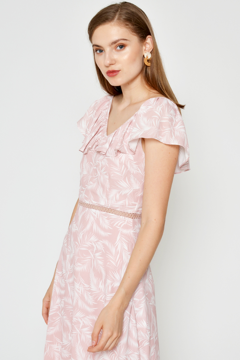 DELFIQUE LEAF PRINTED RUFFLE MIDI DRESS LIGHT PINK