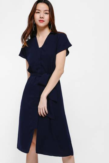 Lela Belt Sash Midi Dress