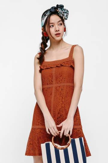 Inez Ruffled Lace Dress