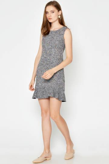 MONIQUE TWEED SHEATH DRESS BLACK