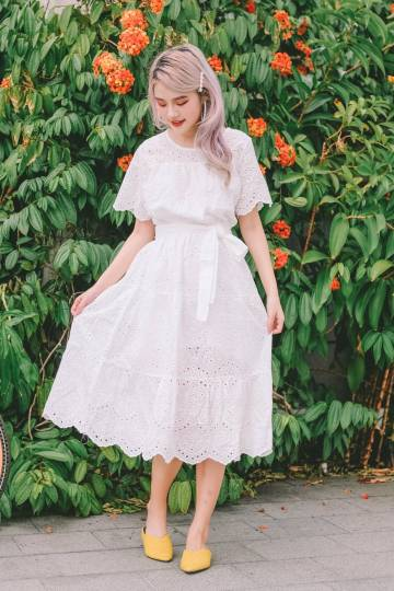 Lilith Eyelet Midi Dress in White