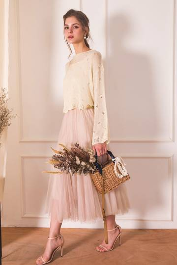 (BACKORDER) Naevia Tulle Skirt in Nude