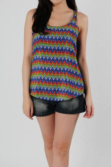 Basic Tank Top ZigZag in Red