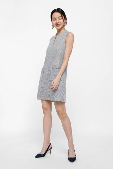 Ena Tweed Notch Neck Shift Dress