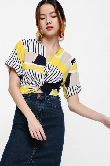 Kyros Printed Twist Front Crop Top